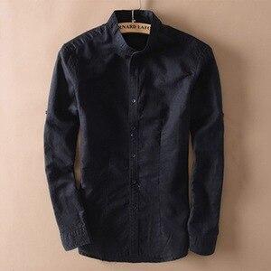 Image 1 - אופנה גברים כותנה פשתן חולצות קלאסי גברים הסיני מנדרינית צווארון ארוך שרוול Slim מוצק לבן לנשימה רך פשתן חולצה XXL