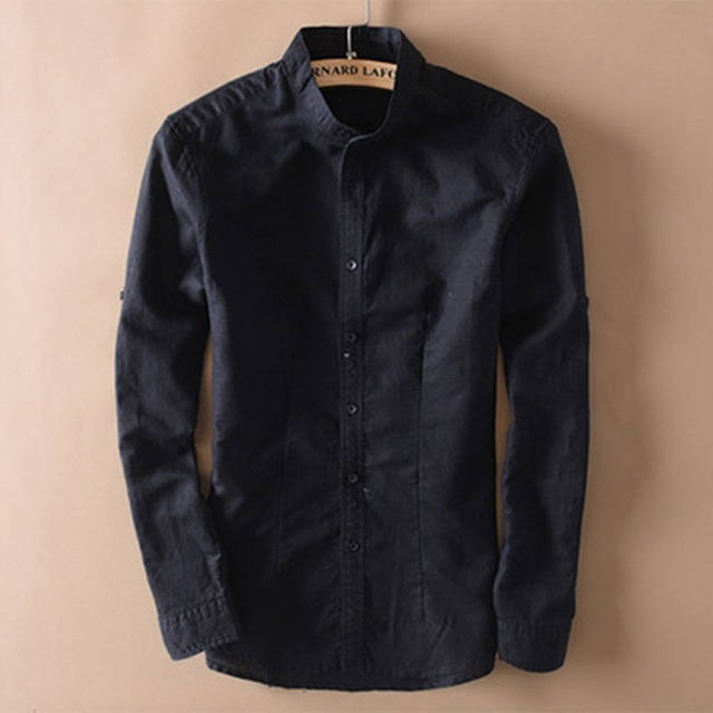 אופנה גברים כותנה פשתן חולצות קלאסי גברים הסיני מנדרינית צווארון ארוך שרוול Slim מוצק לבן לנשימה רך פשתן חולצה XXL