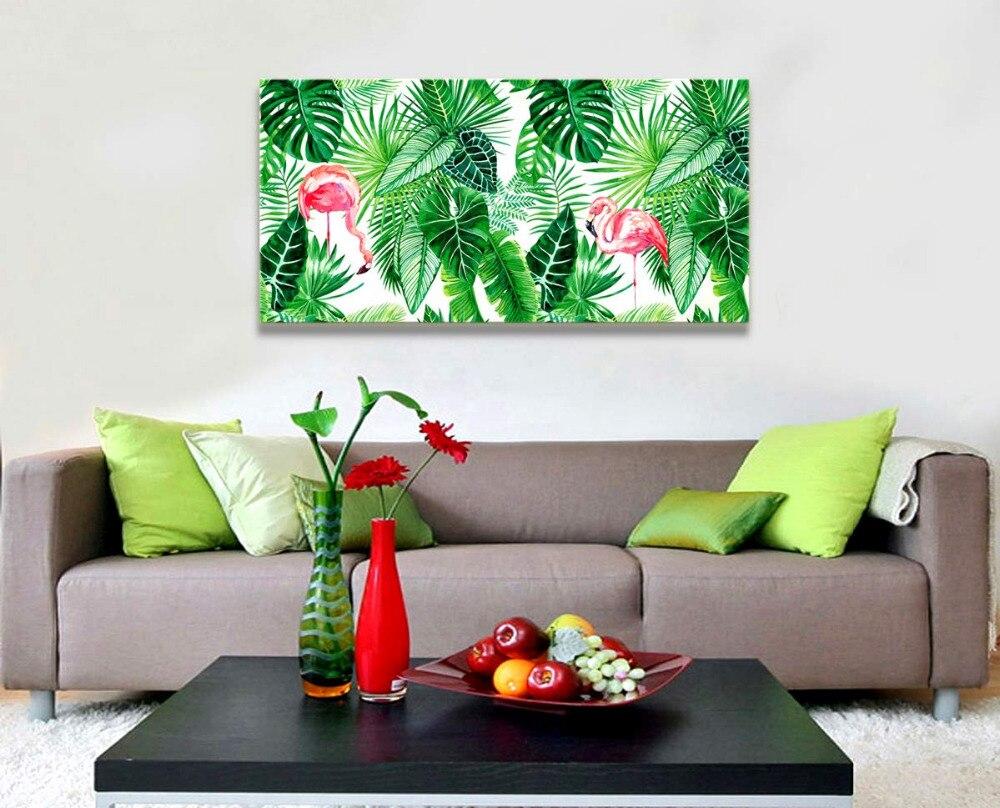 Toile art mural feuille verte plantes tropicales vie Simple image œuvre, flamant rose art Tropical toile Art livraison directe