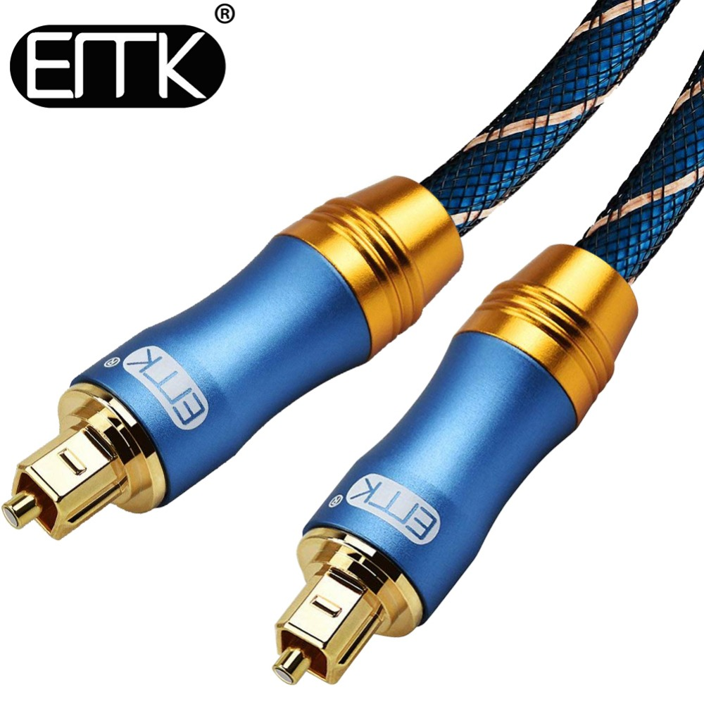 Emk cabo digital óptico toslink, cabo de áudio em fibra óptica 1m 2m 3m 10m 15m para hi-fi dvd tv