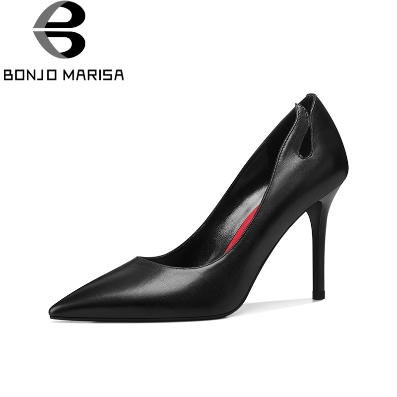 BONJOMARISA 2018 Genuine Leatehr Slip On Thin High Heels Women Shoes Woman Pointed Toe Woman Pumps Shoes Size 34-39 стоимость