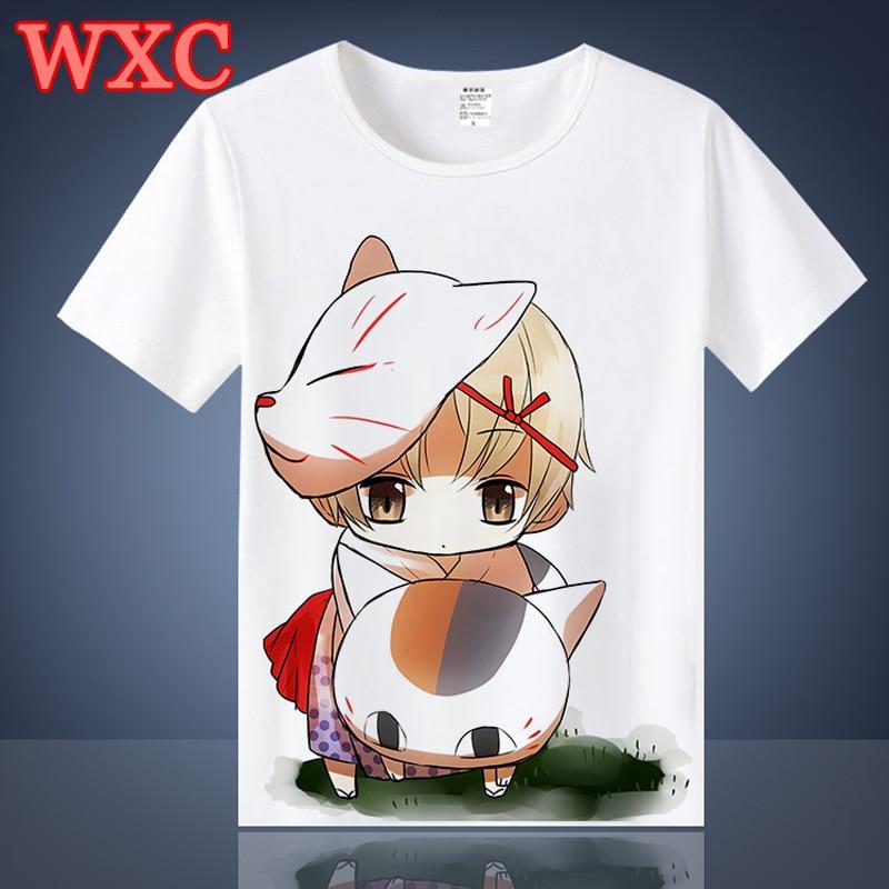 Summer T-shirt Harajuku Japanese Anime Natsume Yuujinchou Nyanko Cat Tops Tee Kawaii Unisex Short Sleeve T Shirt WXC