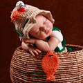 Новорожденный фотографии реквизит handmde крючком детская рыбак костюм hat + пеленки + обувь + рыба студия реквизит baby shower подарок
