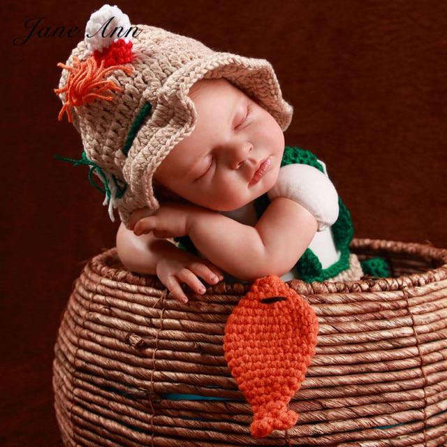 17d1eb3f23d5f Jane Z Ann Newborn baby photography props crochet infant Fishing Fisherman  costume hat + diaper+shoes +fish studio props