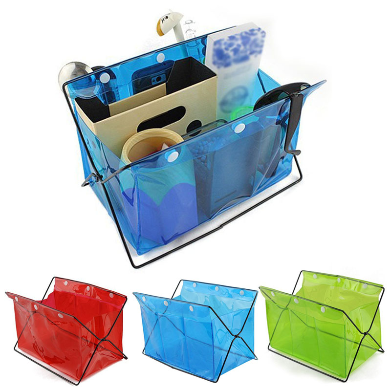 Folding Home Office Desk Storage Box Transparent Case Cosmetic Bag Jewelry Organizer Makeup Tools Holder Container E2S