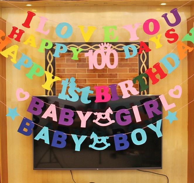 Happy Birthday Decor Bunting Banner Letter Hanging Boy Girl Banner Baby Shower