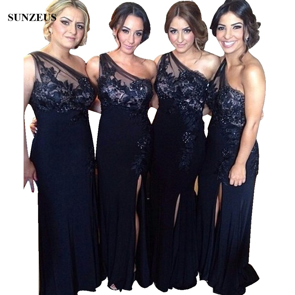 91cda53514 Sheath One Shoulder Navy Blue Bridesmaid Dresses With Appliques Lace Long  Jersey Wedding Party Gowns With Side Slit BDS021