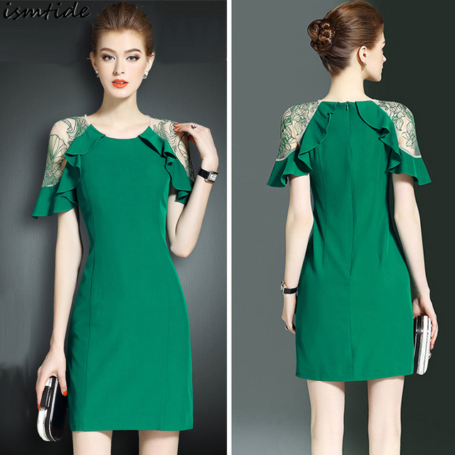 1c57049c71dc3 US $25.57 28% OFF|Black Orange Green Party Slim Sheath Bodycon Pencil Dress  Ruffle Lace Dresses Womens Round neck Butterfly Short Sleeve Dress 3XL-in  ...