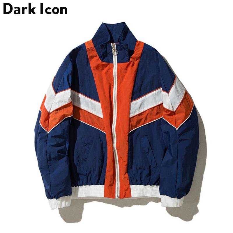 DARKICON Color Block Batwing Sleeve Chaqueta de hombre 2017 Otoño Nueva Moda Streetwear Chaquetas de Hip Hop
