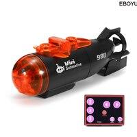 Eboyu micro controle remoto rc  submarino  barco com luz led  brinquedo para presente