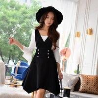 Dabuwawa Autumn Strap dress Woman 2018 new fashion high waist Deep V Neck Sleveless Dres black irregular strap Dress
