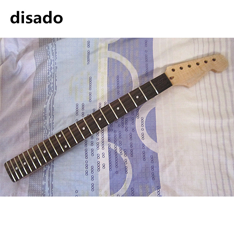 disado 22 Frets tiger flame maple Electric Guitar Neck rosewood fingerboard inlay dots wood color guitar accessories customized black color 24 frets holt on one electric guitar neck mahogany wood and rosewood fingerboard 171