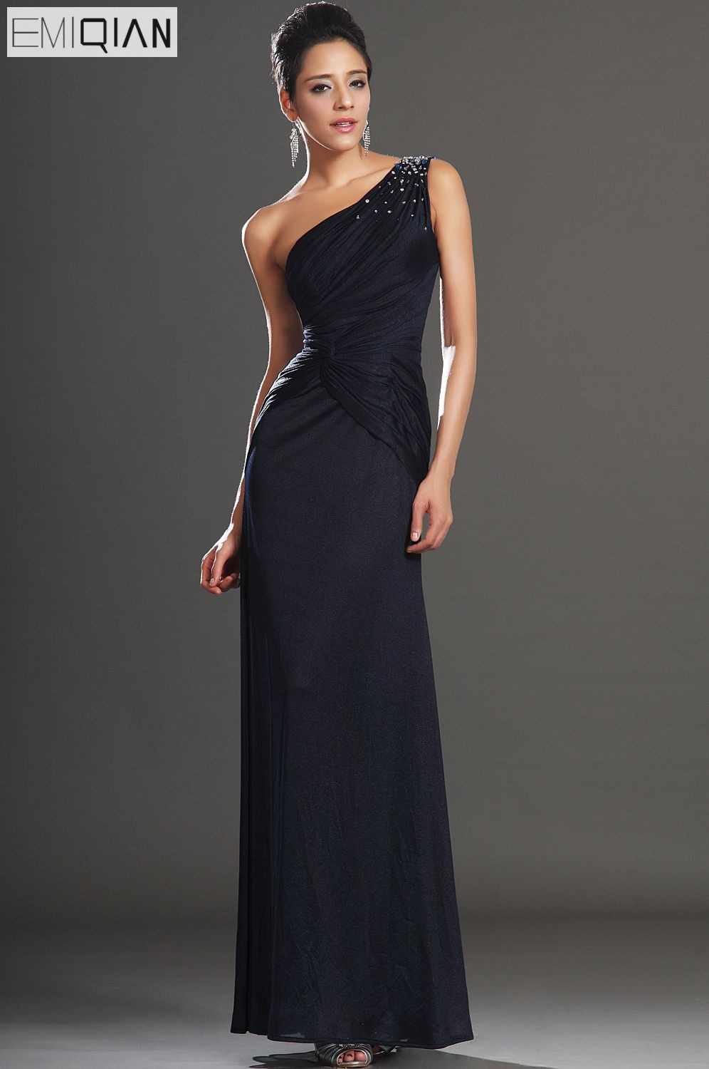 Free Shipping New Fabulous One Shoulder With Shiny Beadings   Evening     Dress