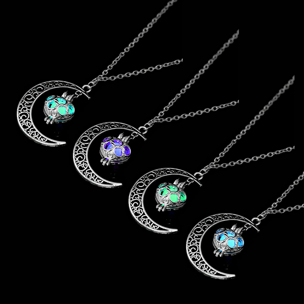 Vienkim Neo-Gothic Luminous Pendant Necklace Women Charm Moon In The Dark Glowing Stone Necklaces For Jewelry Christmas Gifts 10