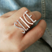 Fashion Letter Ring Set Engagement Rings Rose Gold Micro-inlaid Rhinestone Zinc Alloy Knuckle Ring Party Jewelry