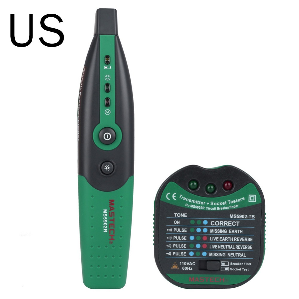 US MASTECH MS5902 Automatic Circuit Breaker Finder Fuse Socket Tester US Specification With Flashlight