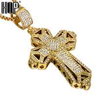HIP Hop Gold Color Titanium Stainless Steel Christian Men Necklace Full Rhinestone Cross Pendants Necklaces For