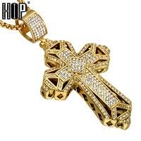HIP Hop Oro Color Titanio Dell'acciaio Inossidabile Christian Uomini Collana Completa Strass Croce Ciondoli Collane for Men Jewelry