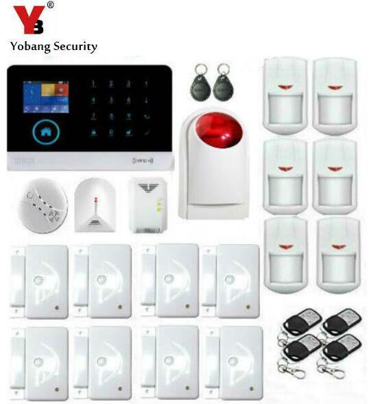 Yobang Alarmas de Seguridad-Control de APP WIFI GSM SMS Wireless Home Seguridad Sistema de Alarma De Gas Sensor de Rotura De Cristales Sirena del Estroboscópico Detector