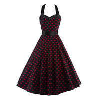 Women Dress Plus Size Summer Clothing 2016 Retro Swing Short Gown Robe Pin Up Dot Vintage