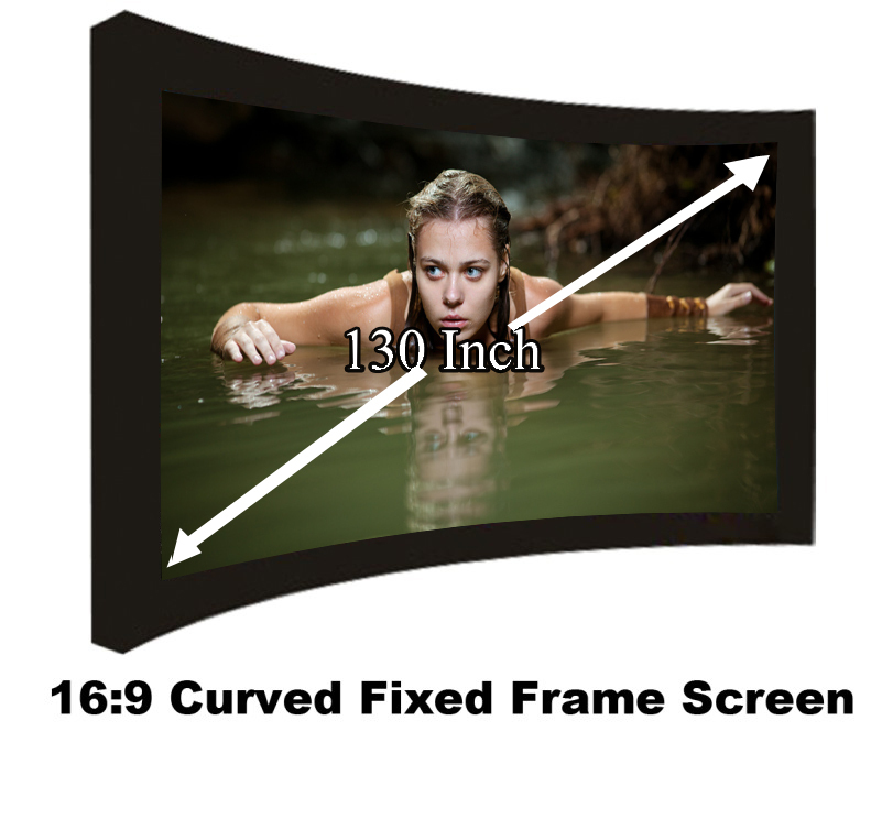 Full HD Display Cinema Size 130 Inch Curved Fixed Frame Projection Screen DIY Wall Mount 3D Projector Screen 16:9 In Stock Sale hot selling 84 inch 16 9 format fast quick fold projector screen for many size front and rear projection screen