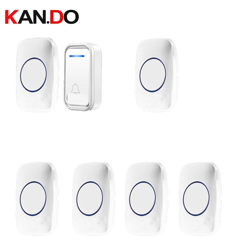 White Bell Kits 6 Receivers Option Wireless Door Bell Set By 110-220V Doorbell Ip44  300M Door Chime Door Ring For Big House