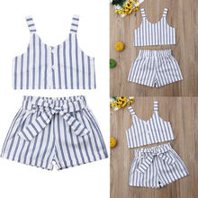 Summer Toddler Baby Girls Kids T-shirt Vest Tops + Short Pant Outfit Clothes Set vtom toddler kids baby set white t shirt tops suspender print shorts pant overalls with headwear summer princess girls clothes