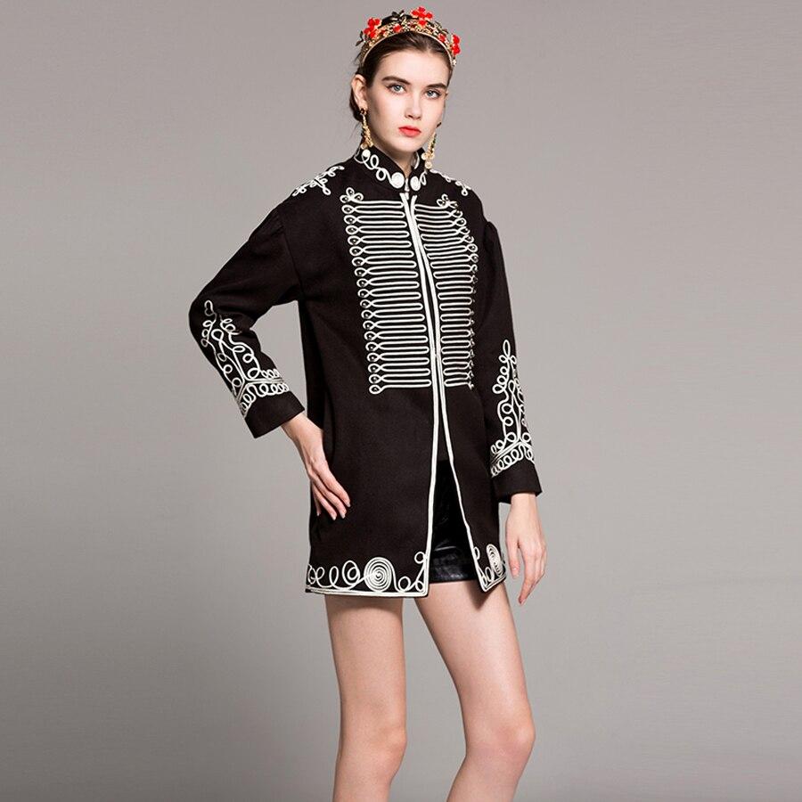 Couleur De Patchwork Femme Lâche Nouveau Vintage 2019 Eté Printemps Noir Manteau Européenne Manteaux Longue Broderie Luxe Qualité Haute qwvqnp4