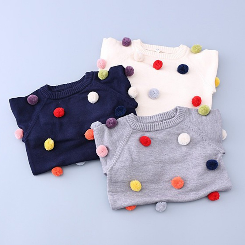 5a314baea Spring Autumn Kids Sweater Colored Balls Baby Knitted Boys Sweaters ...