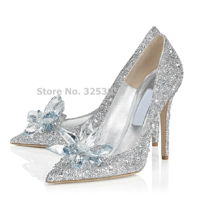 Bling Bling Cinderella s Crystal Shoes Celebrity Stage Shoes High Heels  Pointed Toe Glittering Rhinestone Beaded Wedding Pumps c07d78682275