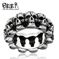 Unique Punk Man's Heavy Metal Skull Ring for Man Stainless Steel Titanium Man's Punk Ring  BR8-225