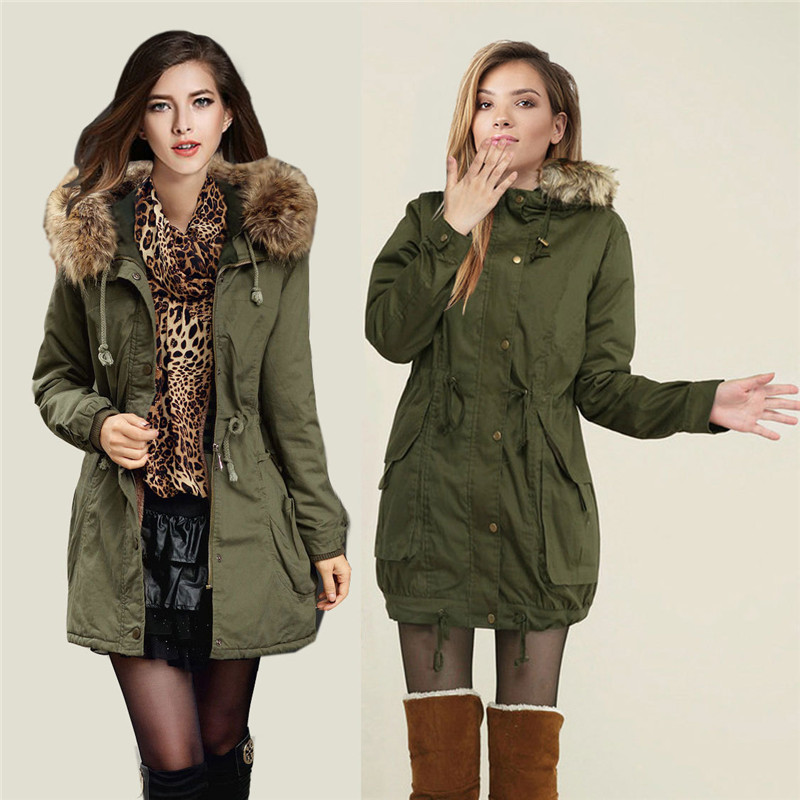 ФОТО Army green jacket winter new thick cotton padded hooded fur collar Slim women winter jacket medium long overcoat TT50