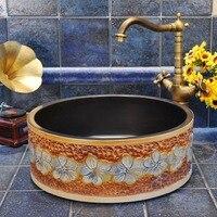 Античная Счетчик Топ ручной Васит барабан формы фарфоровые бассейна для дома и гостиницы