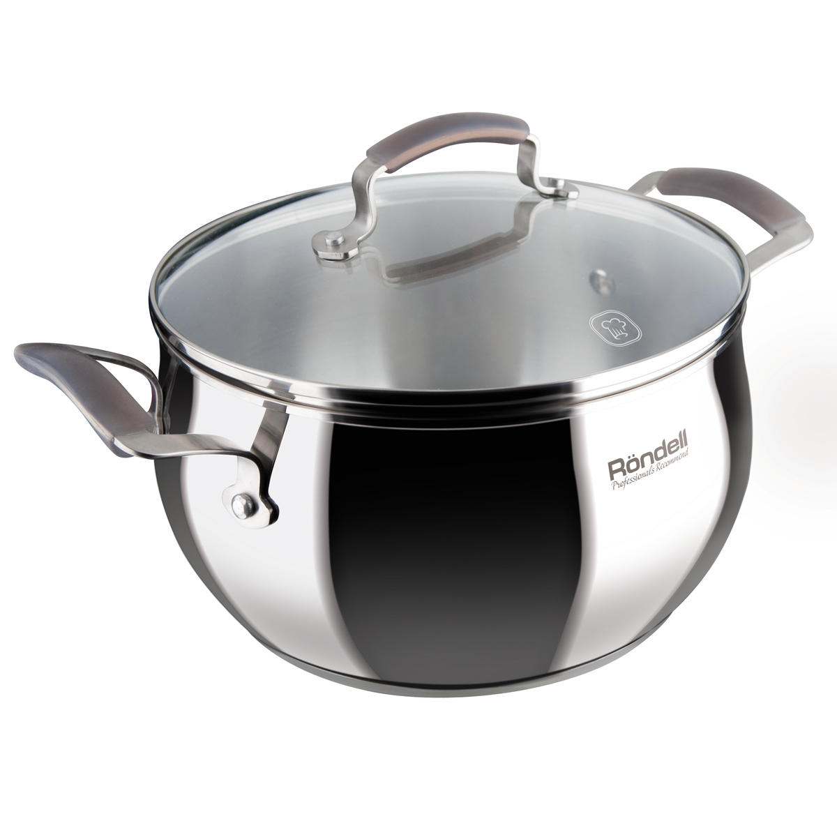 Saucepan with lid RONDELL RDS-733 (Diameter 20 cm, volume 3.8 L, high quality stainless steel, cover of heat-resistant glass, internal Mark литража, suitable for all types of plates) heat resistant esprao firme 24 cm