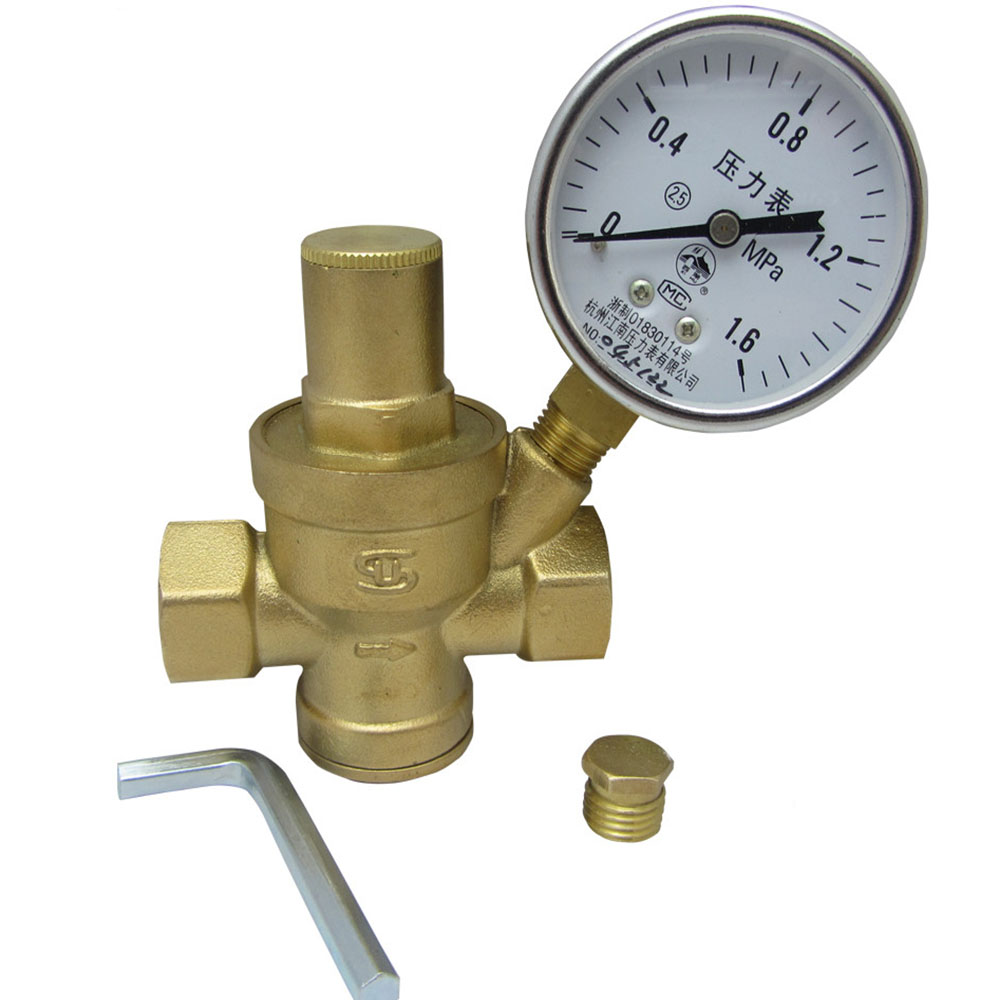 3 4 dn20 brass water pressure reducing valve with pressure gauge pressure maintaining valve. Black Bedroom Furniture Sets. Home Design Ideas