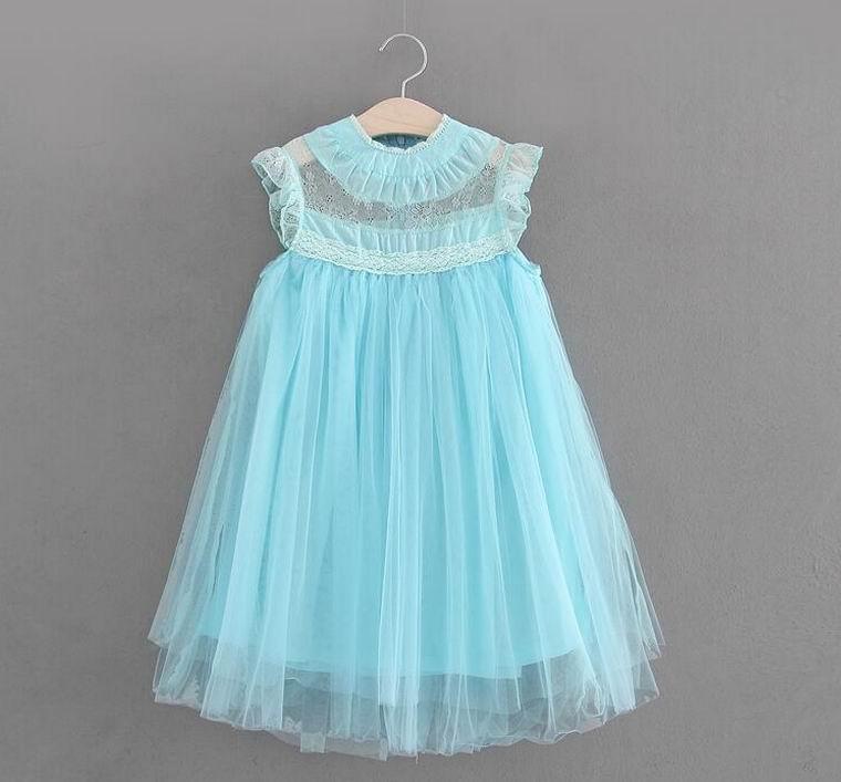Wholesale Summer Girl Dress Lace Princess Dress Girl Gauze Sundress Children Clothing 2 7T E8686