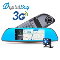 Digitalboy 3G Car DVR Android 5.0 System 7 Display Bluetooth GPS Nagivation Dual Wifi Camera Rearview Mirror Camera FHD 1080P