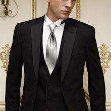 b1278aef1fae6 2015 yeni moda özelleştirilmiş yeni erkekler business suit siyah beyaz iki  düğme erkek takım elbise düğün