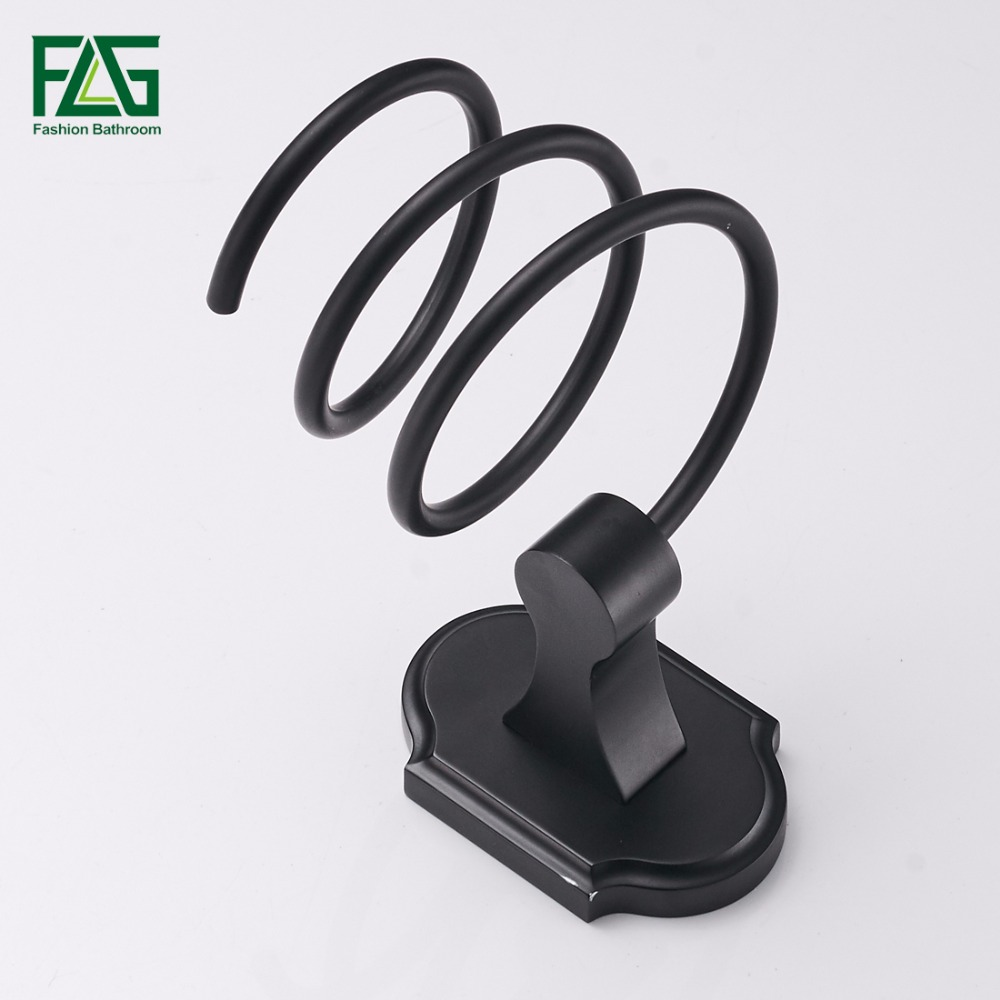Flg Ванная комната полки настенные черный отделка фен стойки для хранения Фен Поддержка держатель спираль стенд