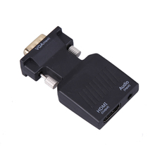1080P VGA Male to HDMI Female Video Adapter+Stereo Audio Cable+USB Cable Color Black