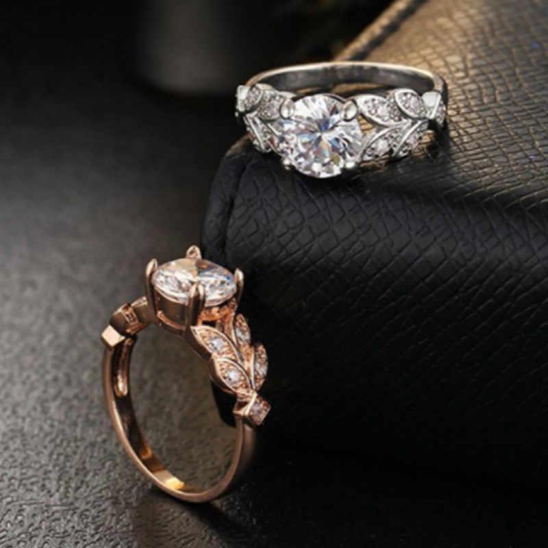 ใหม่ 2018 คริสตัลเงินสีแหวน Leaf หมั้น Gold Cubic Zircon แหวนแฟชั่นแบรนด์ใหม่ผู้หญิง Bijoux เครื่องประดับ