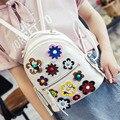2016 Moda de Alta Qualidade Mulheres Pequenas de Couro PU Mochilas Escola Bags Mini Impressão Flor Femme De Marque Mochila para meninas