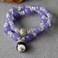 Модный 8 мм фиолетовый нефрит браслет белый кристаллический керамическая сокровищ кошка кулон женщины ювелирные изделия браслет многослойные цепи натуральный камень