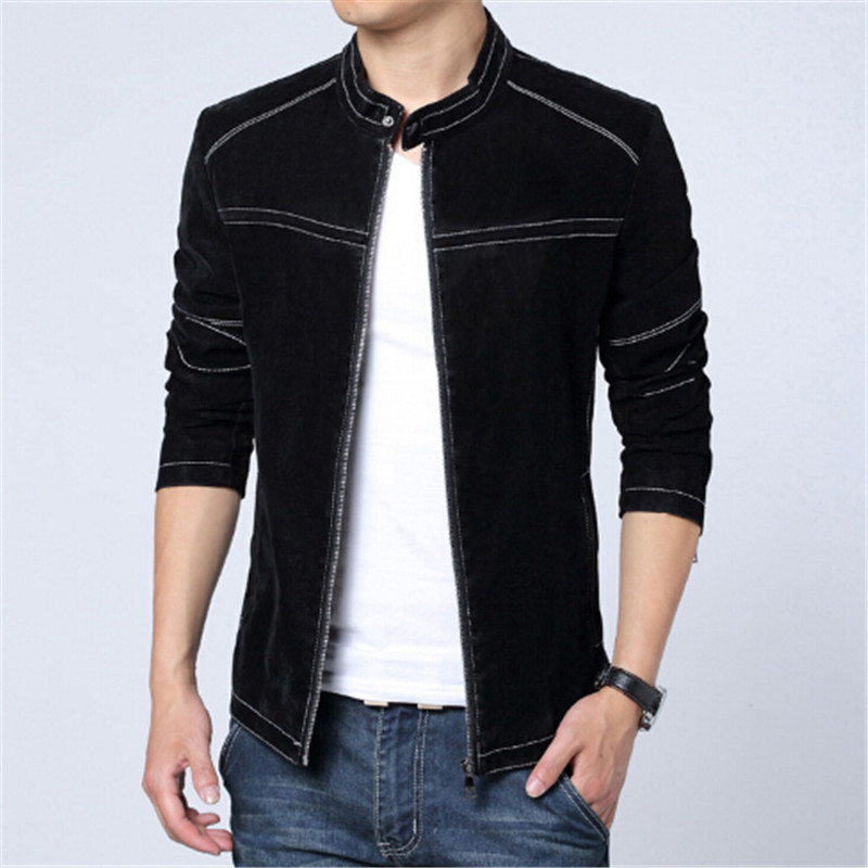 2017 Fashion Men Leather Jacket Spring Autumn Matte Slim Fit Mens Washed Coats Brand Design Striped Leather Jacket Plus Size 5