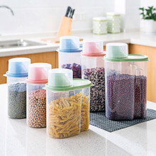 Nordic Creative Sealed Receiving Tank Practical Transparent High-Capacity Kitchen Groceries Cereals Home Storage Plastic Jars