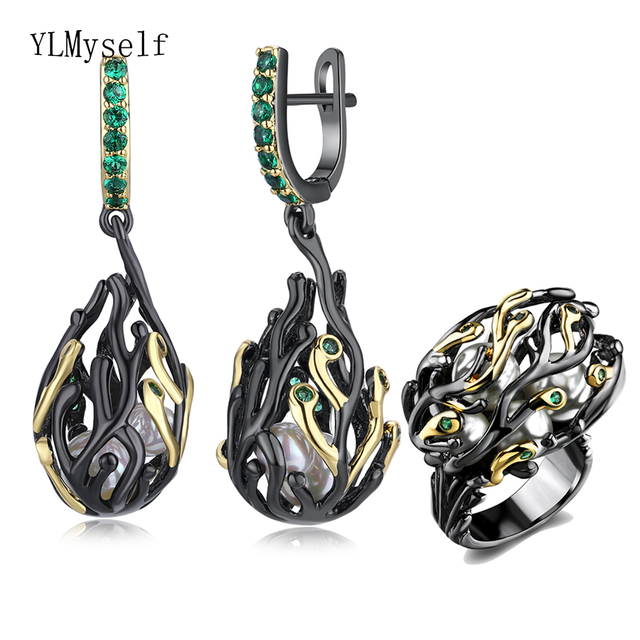 Branch design earrings rings 2pc set irregular jewelry black gold plate white pearl green crystal big cocktail Earring ring sets