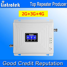 Lintratek LCD Tri Band Signal Booster 2G 3G GSM 900MHz UMTS 2100MHz 4G LTE 1800MHz Mobile Cell Phone Amplifier Repeater*