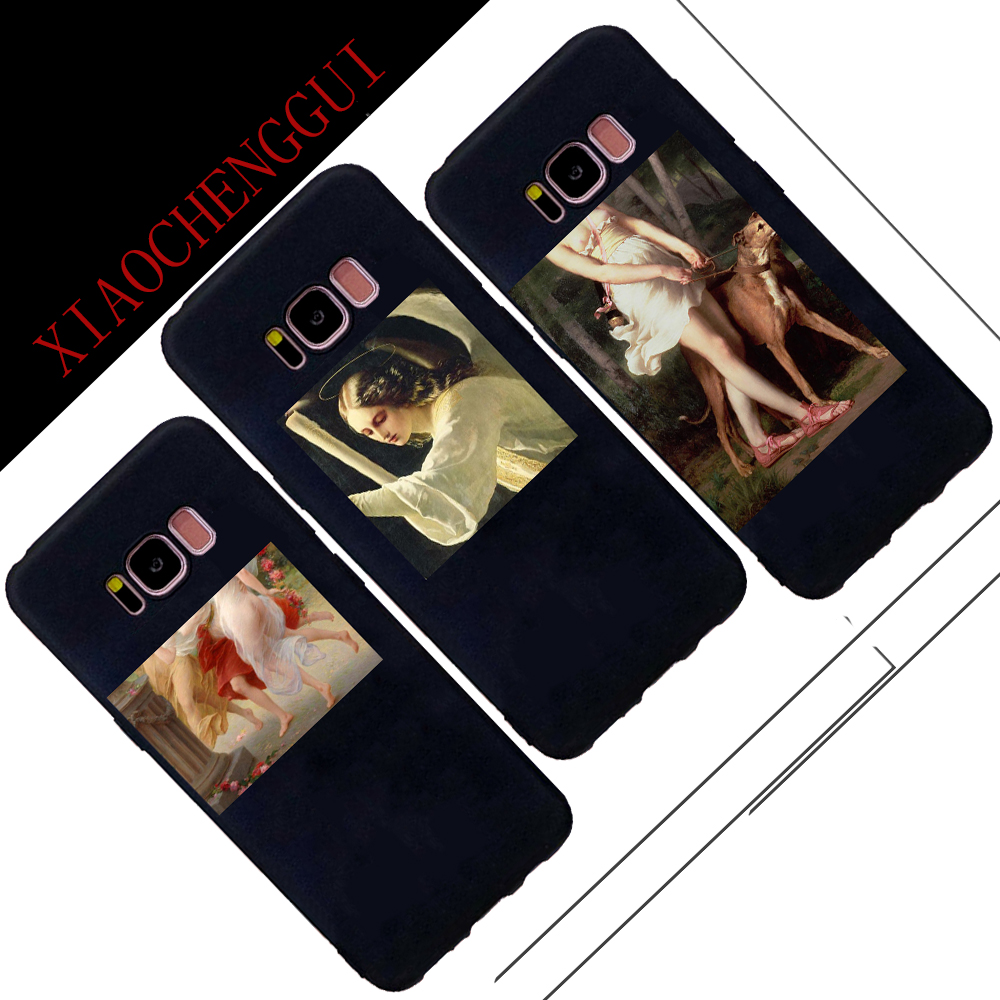 Fashion Retro Oil Painting Abstract character Matte Case For Samsung Galaxy S7 S7Edge S8 S9 plus Case Soft TPU Phone Cover Cases
