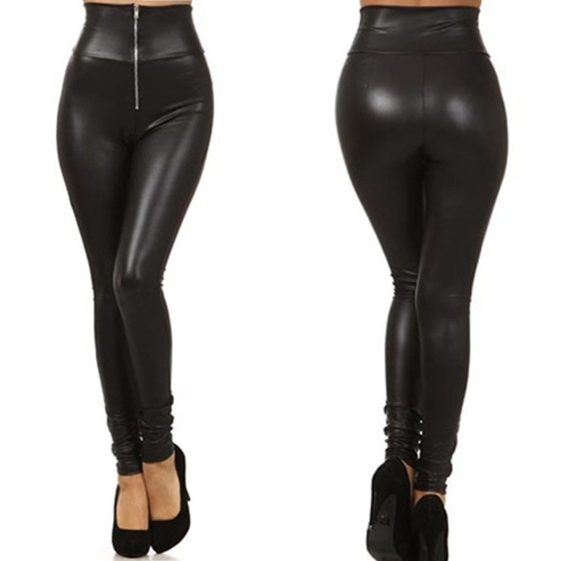 COCKCON Women High Waisted Zipper Pencil Pants Black Faux Leather Legging With Zipper 2020