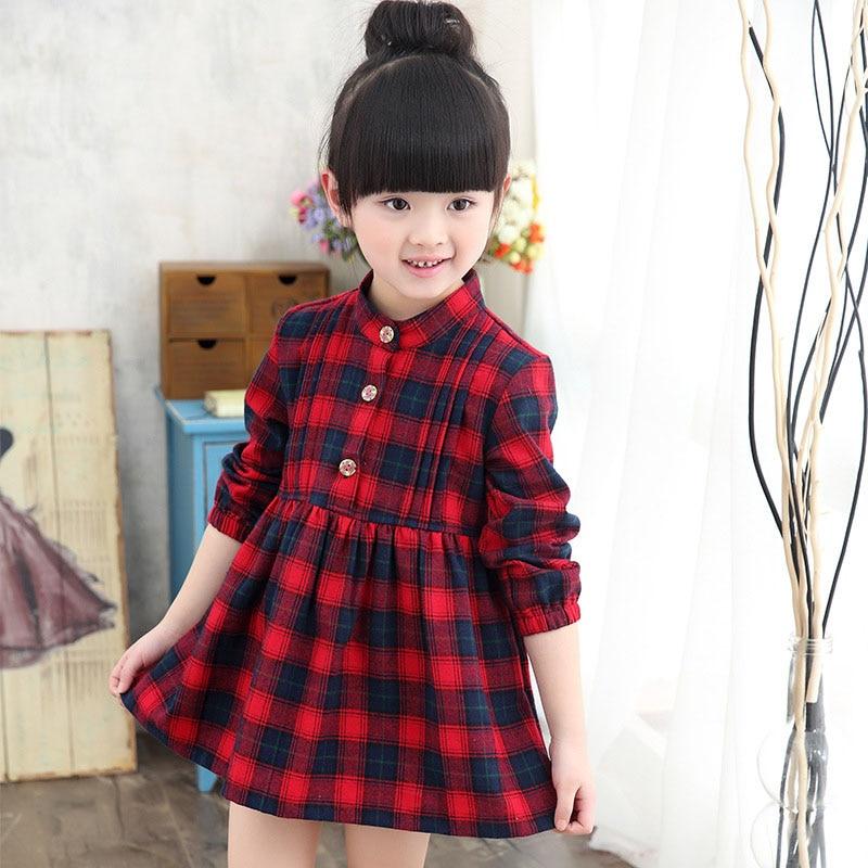 Aliexpress Com Buy Kids Girls Plaid Dress Cotton Long